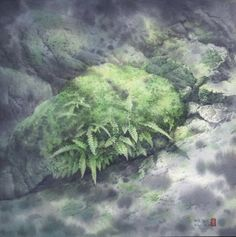 【綠光Green corner】 36x36cm Watercolor on paper 2006 by Chen-Wen Cheng, from Taiwan R.O.
