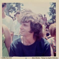 "Another pinner says: ""A rare snap shot and a rare smile of Jim Morrison at Griffith Park in 1967. I obtained this photo while working on a Doors project years ago. It was never used so I'm posting it here for the first time. I can't think of a better place to share it. — with Cella Foto"""