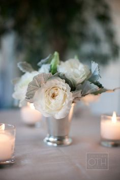 #centerpieces #white #rose Photography by christianothstudio.com, Event Design by http://www.lyndseyhamiltonevents.com, Florals by http://www.lilylodge.com   Read more - http://www.stylemepretty.com/2013/09/12/half-moon-bay-wedding-from-christian-oth-studio-lyndsey-hamilton-events/