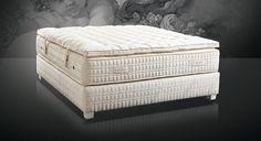 Colchón Treca Interiors Paris, de la colección Prestiges, compuesto de muelles ensacados y productos naturales como el algodón blanco, lana, lino,cachemir y seda.