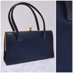 the kelly bag price - True vintage 1960s leather handbag, navy blue kelly bag. Widegate ...