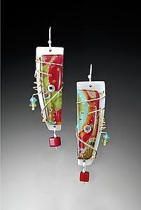 Small Sandy Earrings by Sue Savage (Polymer Earrings) Polymer Beads, Polymer Clay Art, Polymer Clay Earrings, Enamel Jewelry, Metal Jewelry, Ceramic Jewelry, Jewelry Crafts, Jewelry Art, Unique Jewelry