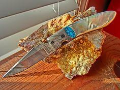 Damascus Folder, Mother of Pearl MOP and Turquoise Custom Handmade Pocket Knife, Custom File Work on Blade and Spine.  via Etsy.
