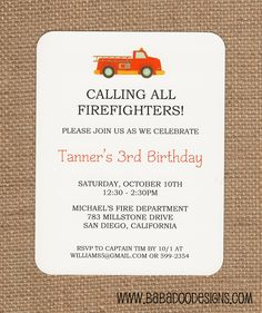 Fire Truck Party.  Invitations, Stationery, Coordinating Items.    www.BabadooDesigns.com