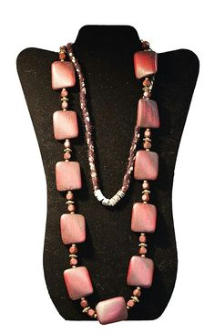 Handmade wooden beaded necklace. Crafted by Sandra. Found at Textures Craftworks Hamilton ON