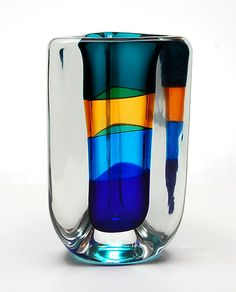 Heavy glass spiral-vase Fasce Sommerso design Fulvio Bianconi 1989 executed by Venini / Italy 2000