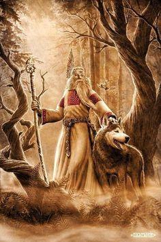 PANTEÃO NÓRDICO -  ODIN (Wotan) - Senhor do Æsir. Deus da guerra, sabedoria, poesia, estudo, casado com a deusa Frigg. Odín residía em Asgard, no palácio de Valaskjálf, que construiu para sí e onde se encontra seu trono, o Hliðskjálf, e dali podia  observar o que acontecia em cada um dos nove mundos.