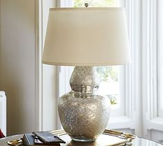 """Avon Etched Mercury Glass Table Lamp Base  