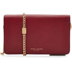 Marc Jacobs Leather Perry Wallet on Chain (26,115 INR) ❤ liked on Polyvore featuring bags, wallets, red, red wallet, crossbody wallet, leather crossbody wallet, leather wallets and real leather wallets