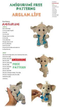 Amigurumi Little Cute Elephant Free Crochet Pattern - Arslan.life Cute Elephant, Color Change, Free Crochet, Free Pattern, Crochet Patterns, Teddy Bear, Beige, Amigurumi, All Free Crochet