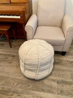 Twisted Cable Pouf Crochet PATTERN Home Decoration Ottoman | Etsy