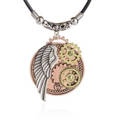 Fashion Jewelry Vintage Steampunk Necklace Antique Echanical Gear Angel wings Pendant Statement Chain Necklace for Men Women