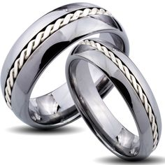 Tungsten Carbide Silver Rope Inlay His and Her Wedding Band Set  Save 10% $142.19 Was: $157.99 Click here for ring sizing guideThis ring CANNOT be resizedThese classic matching his and hers wedding bands showcase center silver rope inlays. The tungsten carbide rings are finished with comfort fit shanks for everyday wear.