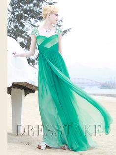 Backless A-line Floor-length Sweetheart Beading Chiffon Prom Dresses