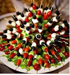 Veggie Kabobs - Use your favorite veggies on kabob sticks then insert into a head of lettuce to display!