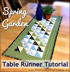 So cute and easy!  Spring Garden Table Runner Tutorial