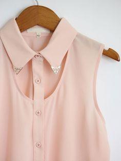 Light Pink Metal Tip Collar Tank $44