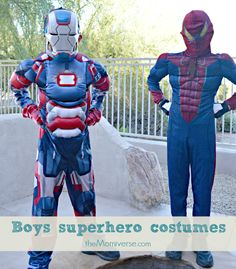 Little superheroes Halloween costumes from @chasenfireflies #chasingtreats2014 | The Momiverse & Light-up Iron Patriot costume | Chasing Fireflies | The Momiverse ...