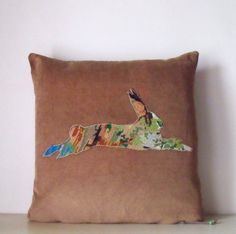 "French Hare Needlepoint Silhouette on luxury Caramel Cord Velvet  20"" Pillow Cushion Coussin Cover"
