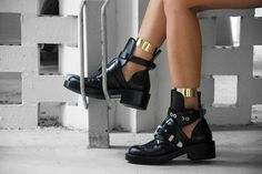 balenciaga cut out boots with ankle cuffs