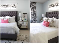 The Best of 2013! Check out the dark grey headboard with white bedding..don't forget a pop of color ...simply gorgeous