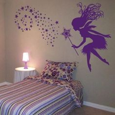 Whimsy Fairy with her Magic Wand and Stars - Wall Decals - Your Choice of Color. $55.00, via Etsy.