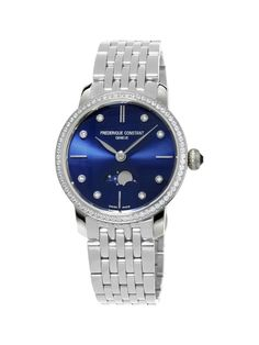 Frederique Constant Women's Slim Line Analog Display Swiss Quartz Silver Watch >>> Check this awesome product by going to the link at the image. Bracelet Clasps, Metal Bracelets, Bracelet Watch, Stainless Steel Watch, Stainless Steel Bracelet, Watch Brands, Luxury Watches, Quartz Watch, Blue And Silver