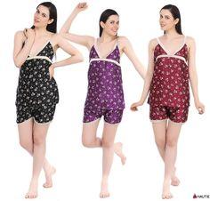 HAUTIE LADIES PYJAMA SET PJ'S SHORTS VEST SATIN CAMISOLE WOMENS NIGHTWEAR in Clothes, Shoes & Accessories, Women's Clothing, Lingerie & Nightwear | eBay