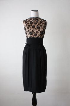 50s dress vintage dress with embellished lace over nude illusion bodice