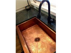 $1,425 - The large Fernanda farmhouse sink offers additional features to enhance its strength and durability. All of our copper farmhouse sinks are hand-hammered in 14 gauge, lead-free copper by 3rd generation coppersmiths. Our 14 gauge copper is the thickest copper available on the market—you don't need to worry about a metallic drumming sound as water flows into your sink. Our sinks are TIG copper welded. Copper Farmhouse Sinks, Farmhouse Sink Kitchen, Copper Kitchen, Kitchen Sink, Apron Designs, Custom Cabinets, Front Design, Lead Free, Recycling