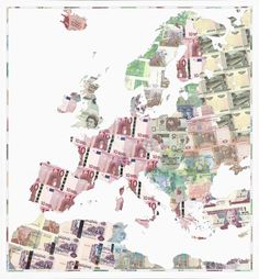 Euro Europe by Justine Smith 83 x 89.6cm. Edition of 95 signed and numbered by the artist. 2007. Inkjet print on 330gsm Somerset satin enhanced paper. http://www.justinesmith.net/prints/money_maps_prints/euro_europe © Justine Smith 2015.