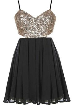 Dance Floor Dress: Features a glittering gold sequin bodice with cutout sides for subtle exposure, sleek spaghetti straps which crossover on an open back, playful black chiffon skirt, and a centered rear zip closure to finish.