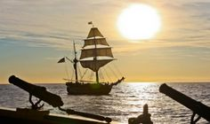 Sunset with Hawaiian Chieftain and Lady Washington's guns in the foreground. #travel #sailing #adventure http://historicalseaport.org/