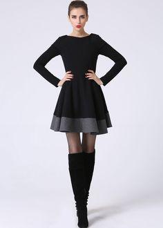 Little Black Dress - LBD - Short Sleeve Dress - Black and Gray - Black Mini Dress - Wool Dress - Color block - Wool Clothes (1069) by xiaolizi on Etsy https://www.etsy.com/listing/201101714/little-black-dress-lbd-short-sleeve