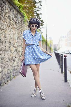 Dress: http://zlz.com/washed-denim-short-sleeve-dress-with-turndown-collar_d3208.html