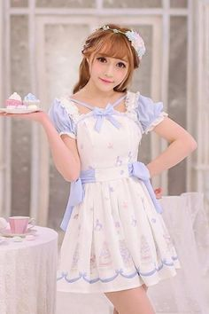 Free Shipping Lolita Kawaii Cake Pattern Chiffon Princess Dress LK16041108