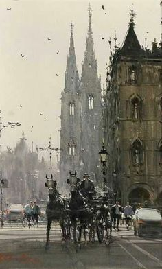 Tagged with art, fine art, watercolor art; Shared by Beautiful Watercolor Paintings by Joseph Zbukvic Urban Landscape, Landscape Art, Landscape Paintings, Landscapes, Watercolor Architecture, Watercolor Landscape, Watercolor City, Watercolor Flowers, Watercolor Artists