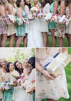 in lieu of bouquets bridesmaids carried vintage books wrapped in lace #bridesmaidideas #bridesmaid http://www.weddingchicks.com/2013/10/29/bookworm-wedding/