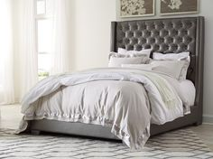 Coralayne Gray Upholstered King Bed
