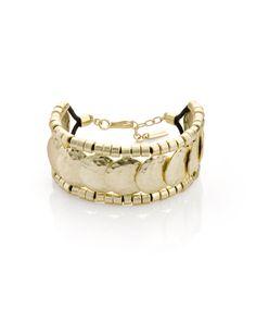 Goldtone bead and disc bracelet