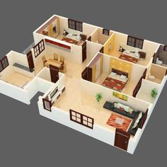 Home interior minimalist tiny house 27 ideas 2bhk House Plan, Three Bedroom House Plan, 3d House Plans, Model House Plan, House Layout Plans, Dream House Plans, House Layouts, Small House Plans, Bungalow Haus Design