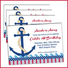 Boat Birthday Invitations for Boys - Nautical Birthday Invitations for your Sailor Birthday Party - Anchors Away
