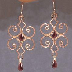 Nouveau 214 Hammered swirl shapes with choice by CalicoJunoJewelry, $198.00