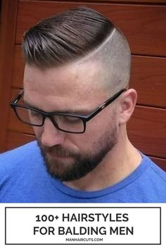 Separating the bald parts from the hairy ones is also a good idea if you are looking for a hairstyle for balding men. You can go for a half-bald fade with this side cut that makes no transition from the fade to the long top. #baldingmenhairstyles #baldfadehaircut #menhairstyles #manhaircuts Skin Fade Hairstyle, Pompadour Hairstyle, Tapered Haircut, Fade Haircut, Fade Long On Top, Side Cut Hairstyles, Haircuts For Balding Men, Short Mohawk, Bald Patches