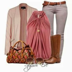 Stylish Eve Pink and Brown Outfit Stylish Eve Outfits, Business Casual Outfits, Classy Outfits, Stylish Outfits, Fashion Outfits, Womens Fashion, Jean Outfits, Fashion Clothes, Fall Outfits