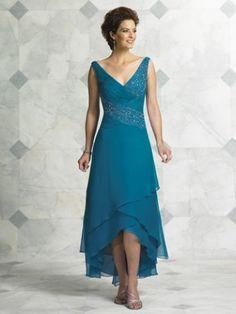 Teal Blue Tea Length Mother Of The Bride Dresses For Weddings V Neck Sequin Beaded Chiffon Elegant Plus Size Formal Evening Wear Me Gusta La Caída