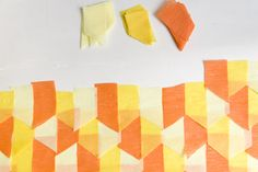 Inspired by Amy and Stephen's DIY photobooth backdrop, we decided to try making one ourselves… It's so easy! You can even give your own twist to this project by arranging the crepe paper strips in geometric patterns like herringbone. For this project all you need are streamers in different colors, glue, scissors or paper cutter …