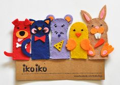 IKO Pets Finger puppets Toy Puppet  Hand puppet  Set by IkoIkoToys, $19.00