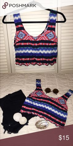 MULTICOLORED TRIBAL PACSUN CROP TOP Festival Season is right around the corner so why not purchase this adorable tribal crop top?! Cuts right above the belly button and is perfect for a hot day!🌞✨ Worn only once!! Has scalloped detailing and beautiful printed patterns!! The sunglasses, shorts, and seashells are not included; for style inspiration only!!🌸 PacSun Tops Crop Tops