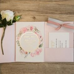pink and gold glitter pocket wedding invitations with flowers in watercolors EWPI209 as low as $2.19 |